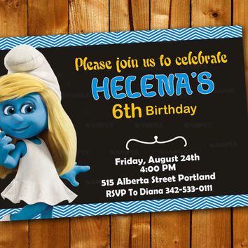 Smurfette Chevron, Birthday Invitation for little boy and little girl