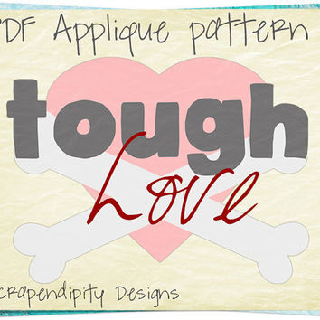 Valentine Applique Template - Love Applique Pattern / Kids Girls Clothing Shirt / DIY Valentine Tshirt Design / PDF Baby Quilt Pattern AP155
