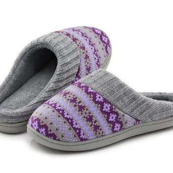 Rockdove Women's Sweater Knit Memory Foam House Slippers W/cute Embroidered Pattern And Ribbed Hand Knit Collar