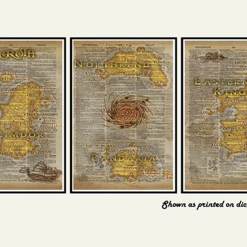 World of Warcraft art, Azeroth map art, video game art print, WOW art, nerdy geeky art, map triptych art set