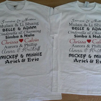 Free Shipping for US Disney Characters Names.Couples Shirts/Tank tops