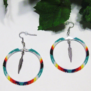 Beaded Hoop Earrings With A Feather Center Charm Dangle - Hoop Earrings - Womens Earrings - Gifts For Her - Jewelry - Feather Charm -