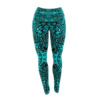 "Shirlei Patricia Muniz ""The Elephant Walk"" Teal Ethnic Yoga Leggings"