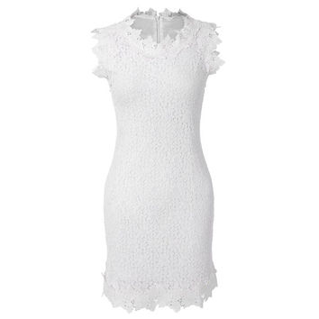 White Floral Lace Crochet Bodycon Dress