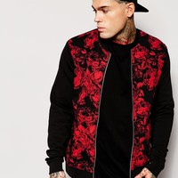 ASOS Bomber Jacket In Jersey With Floral Printed Front