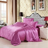 Mitation silk quilt red satin sheets cotton solid satin duvet cover set king size bedsheet 3/4pcs of bedding sets.