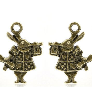 4 Bronze Rabbit Charms Alice in Wonderland 121A