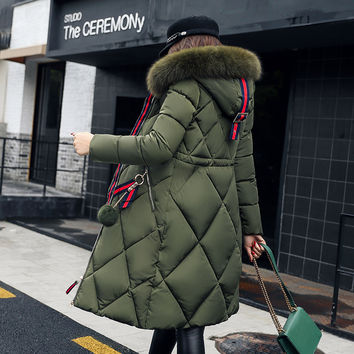 Cockscomb New Winter Women Coat Jacket Long Style Warm High Quality Woman Down Parka Winter Coat with Faux Fur Hood