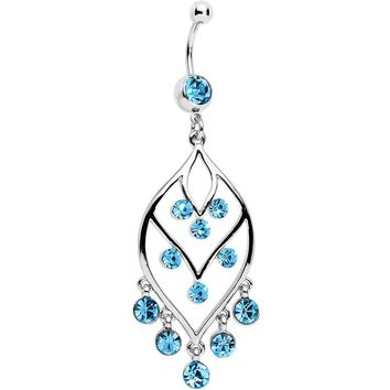 Aqua Gem Victorian Chandelier Dangle Belly Ring