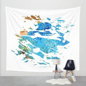 Abstract Acrylic Painting Broken Glass BLUE AND BROWN Wall Tapestry by Saribelle Inspirational Art | Society6