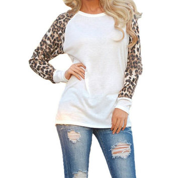 Fashion Women Casual Shirts Tops Spring Autumn Long Sleeve Leopard Chiffon Patchwork Blouses