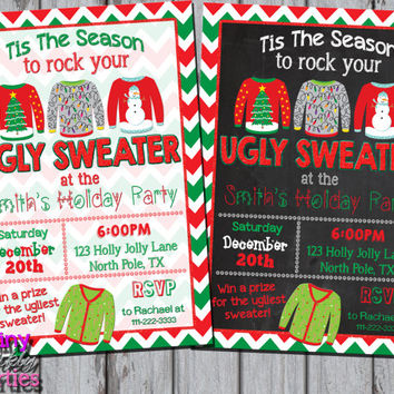 UGLY SWEATER INVITATION - Ugly Christmas Sweater Party Invite - Christmas Party - Christmas Ugly Sweater Chalkboard Christmas Sweater