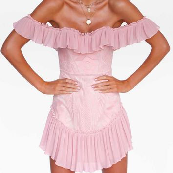 Lace off the Shoulder Pleated Ruffled Dress in Blush