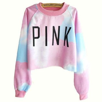 ICIKJL0 Letter Print Tie Dye Top Sweater Pullover