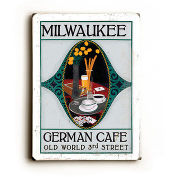 Personalized Milwaukee Cafe Wood Sign