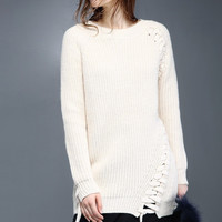 Cream Laced Up Long Knit Sweater