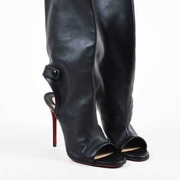 DCCK Christian Louboutin Black Leather Open Heel  Mistinguetre  Boots