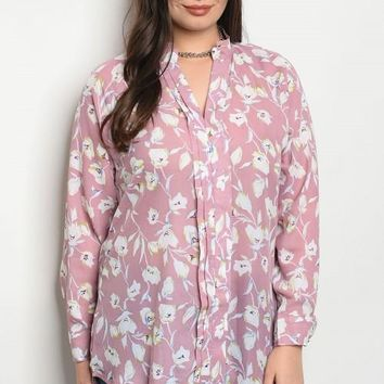 Blush Tunic Top With White Florals Throughout