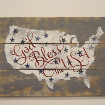 God Bless The USA Pallet Sign American Wall Decor Vintage United States Wall Art July Fourth Decoration Americana
