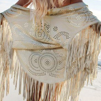 Beige Laser Cut Fringed Cape