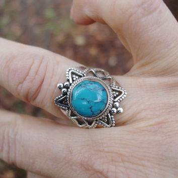 Turquoise ring, stone ring, boho ring, 925 silver ring, bohemian, gypsy ring, round ring, size 7 1/2 ring, gift for her, summer style,