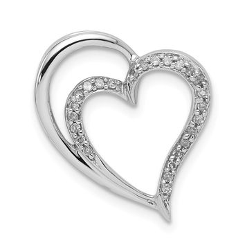 Diamond Double Heart Pendant in Sterling Silver Necklace