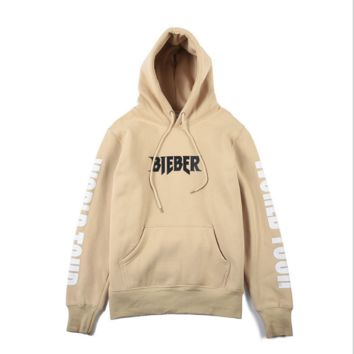 Purpose Tour Alphabet cotton fleece men and women beige hooded sweater[10058824135]