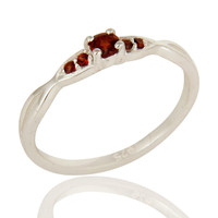 925 Sterling Silver Natural Garnet Gemstone Cluster Ring