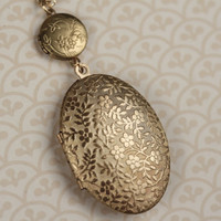 Vines and Floral Double Locket Necklace Long Gold by FreshyFig
