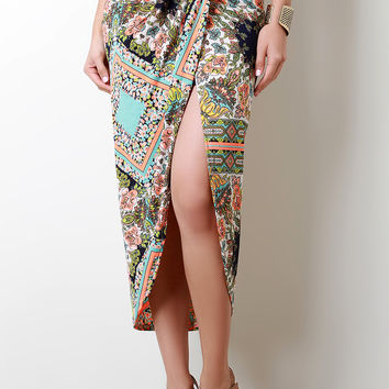 Tribal Lotus Print Faux Wrap Skirt