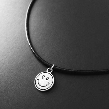 Smiley Face Necklace, Smiley Face Choker, 90s Choker, Retro Jewelry, Grunge Jewelry, Black Choker, 90s Jewelry, On Sale