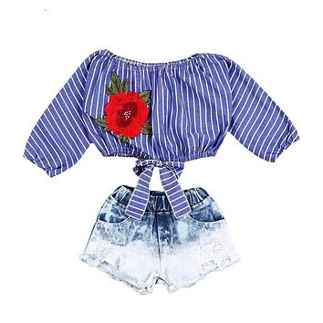 New Fashion Toddler Kids Girl Clothes Off shoulder Striped Embroidery Rose Flower Crop Tops +Denim Shorts 2PCS Children Set