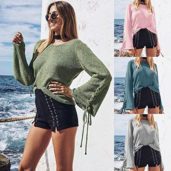 Women Bell Sleeves Knitted Pullover Sweater Lace Up Eyelets O Neck Loose Casual Knit Top
