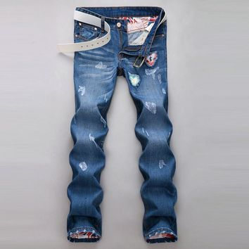 Ripped Holes Korean Slim Denim Pants Men Jeans [6528346627]