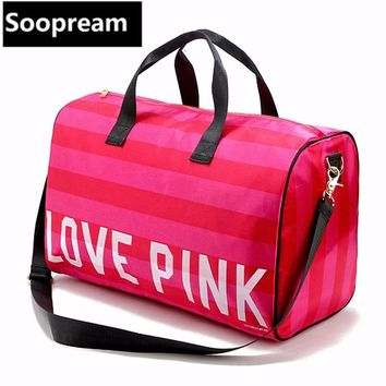 VS Women Fashion  Love Pink Handbags Barrel-Shaped Large Capacity Travel Duffle Striped Waterproof Beach Bag Shoulder Bag