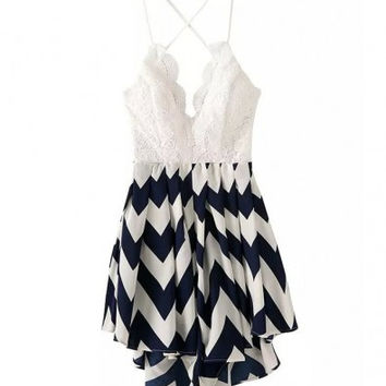 White and Navy Blue Geometric Print Bare Back Chiffon Dress