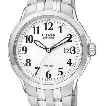Citizen Mens Eco-Drive Watch - White Dial - Stainless Steel - Date Window
