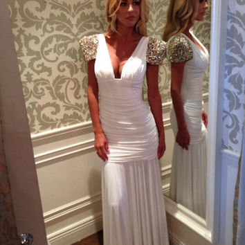 Short Sleeves Prom Dress,White Prom Dress,Long Evening Dresses
