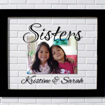 Sisters Floating Picture Frame - Personalized Custom Names - Customized Sibling Twin Brothers Photo