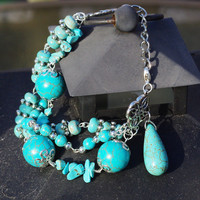 Turquoise Stones Bracelet ~ One of a Kind Bracelet ~ Boho Jewellery ~ Statement Bracelet ~ 3 Strand Bracelet ~ Birthday Gift ~ Gift for Mom