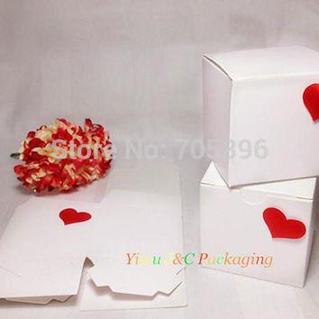 Square Wedding Favor Boxes Hearts  Candy