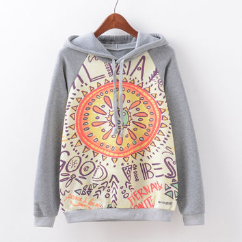Women's Fashion Print Hoodies Casual Fleece Hats [9067782212]