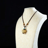 Handmade Nepalese Gold Plated Turquoise Coral Snuff Bottle Silk Cord White Jade Beads
