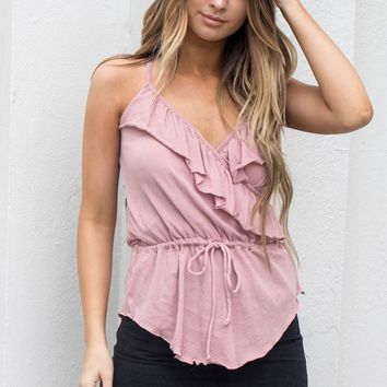 CHASER Ruffle Surplice Antique Rose Cami Top - Amazing Lace