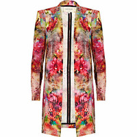 Pink floral print structured duster coat