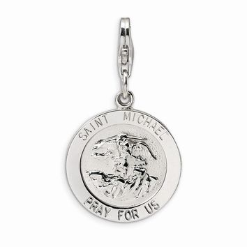 Sterling Silver Saint Michael Medal w/Lobster Claw Clasp Charm