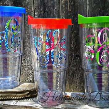 Clear 24 oz Tumbler, 24 oz Tervis Like Tumbler, Personalized Tumbler, Lilly Pulitizer Monogrammed Tumbler, Tumbler with Straw