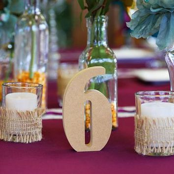 Wedding Table Numbers for Reception Table Decorations, Weddings Party, Optional Painting or Glitter Centerpiece Table Marker