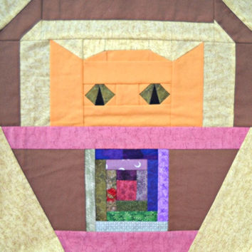 Log Cabin Cat Quilt Block Pattern