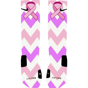 Custom Breast Cancer Awareness Ribbon Chevron Stripe Custom Nike Elite Socks or Adidas Socks